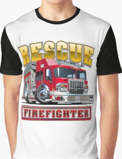 Cartoon Fire Truck Graphic T-Shirt