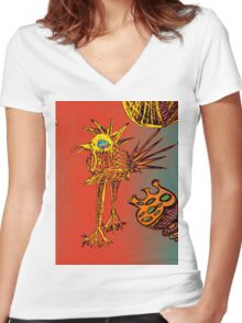 ABSTRACT SKETCH BIRD Women's Fitted V-Neck T-Shirt