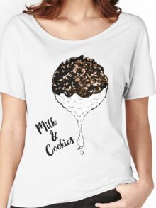 Cute Hand Drawn Foodie Cookies and Milk Women's Relaxed Fit T-Shirt
