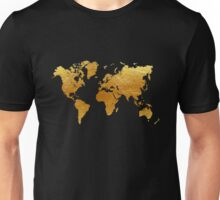 Black and Gold World Map Unisex T-Shirt