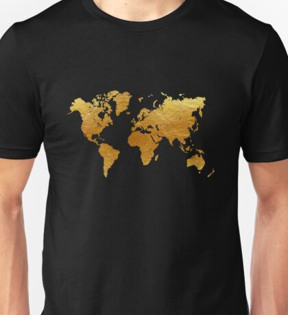 Black and Gold World Map Unisex T-Shirt