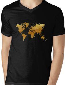 Black and Gold World Map Mens V-Neck T-Shirt