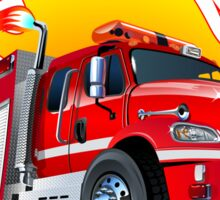Cartoon Fire Truck Sticker