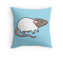 Friendly Hooded Rat - Grey and White Throw Pillow