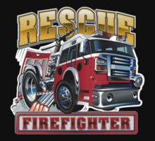 Cartoon Fire Truck Kids Tee