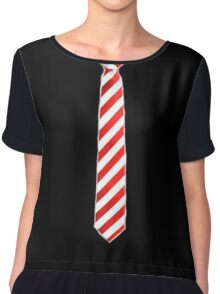 Red - White Tie Chiffon Top