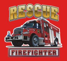 Cartoon Fire Truck One Piece - Long Sleeve