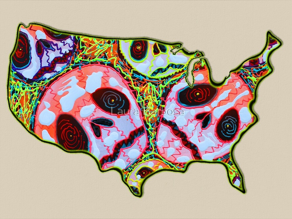 Skull Map USA by Laura Barbosa