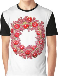 Bright Red Cherry Apple Wreath Graphic T-Shirt