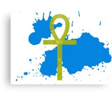 Gold Ankh Blue Splatter Canvas Print