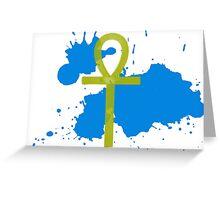 Gold Ankh Blue Splatter Greeting Card