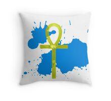 Gold Ankh Blue Splatter Throw Pillow