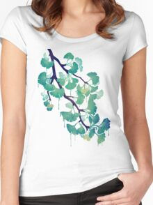 O Ginkgo (in Green) Women's Fitted Scoop T-Shirt