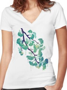 O Ginkgo (in Green) Women's Fitted V-Neck T-Shirt