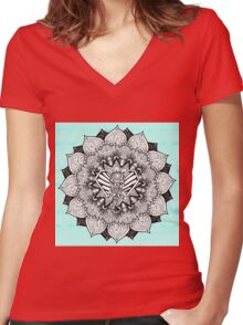 Boho Tangle Elephant and Hand Drawn Mandala Women's Fitted V-Neck T-Shirt