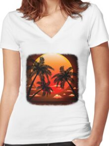 Warm Topical Sunset with Palm Trees Women's Fitted V-Neck T-Shirt