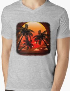 Warm Topical Sunset with Palm Trees Mens V-Neck T-Shirt