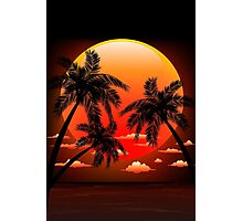 Warm Topical Sunset with Palm Trees Photographic Print