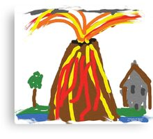 Volcano & House by Xander Canvas Print
