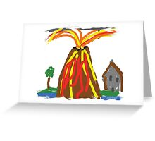 Volcano & House by Xander Greeting Card