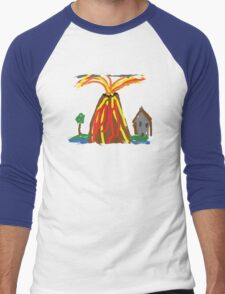 Volcano & House by Xander Men's Baseball ¾ T-Shirt