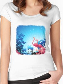 Pink Flamingos on Blue Tropical Landscape Women's Fitted Scoop T-Shirt