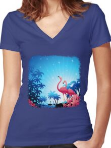Pink Flamingos on Blue Tropical Landscape Women's Fitted V-Neck T-Shirt