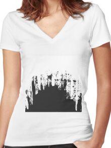 Modern Black and White Painted Brushstroke Women's Fitted V-Neck T-Shirt
