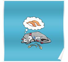 Kitteh dreams of sushi Poster
