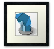origami dog, vector image, website Framed Print