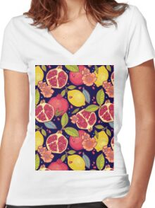 Mysterious tropical garden. Women's Fitted V-Neck T-Shirt