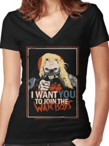 Mad Max join the War Boys Women's Fitted V-Neck T-Shirt