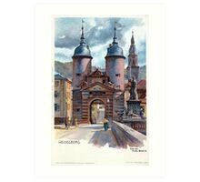 Vintage Litho Heidelberg Old Bridge Gate Art Print