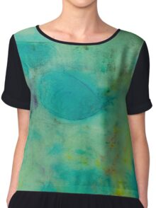 Colorful Abstract Print Design in Green  Chiffon Top