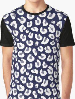 Navy Blue and White Leopard Print Graphic T-Shirt