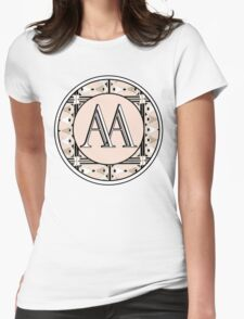 1920s Pink Champagne Gatsby Monogram (double initials AA) Womens Fitted T-Shirt