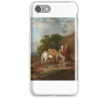 Probably French school, 2nd half 18th century, Landscape with Travellers and a Horse by a Well iPhone Case/Skin