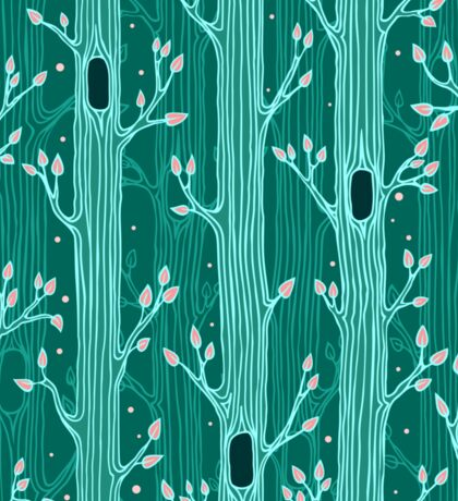 Emerald forest. Seamless pattern with trees Sticker