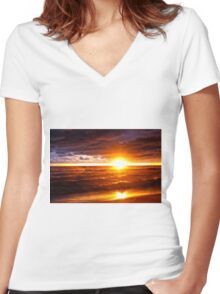 Bright Stormy Sunset Women's Fitted V-Neck T-Shirt