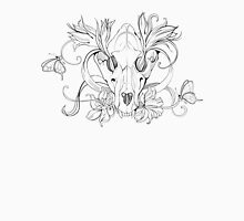 black and white animal skull with flowers in graphic style T-Shirt