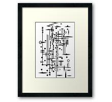 Kree City Blueprints (Black) Framed Print