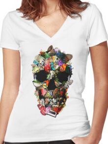 Fragile Skull 2 Women's Fitted V-Neck T-Shirt