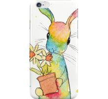 Peppermint Art Hare with Daffodils iPhone Case/Skin
