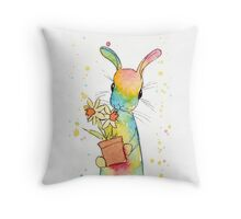 Peppermint Art Hare with Daffodils Throw Pillow