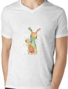 Peppermint Art Hare with Daffodils Mens V-Neck T-Shirt