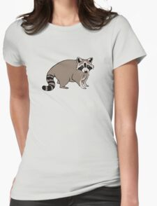 Cute Realistic Cartoon Raccoon Womens Fitted T-Shirt