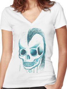 Punk Skull Women's Fitted V-Neck T-Shirt
