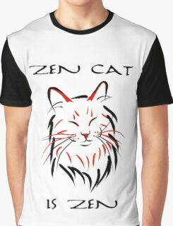 Zen Cat (With Text) Graphic T-Shirt