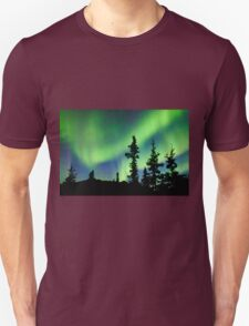 Northern Lights Aurora borealis over Yukon taiga spruce Unisex T-Shirt