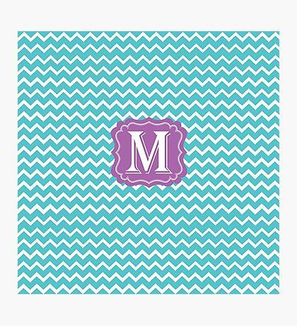 M Turquoise Chevron Photographic Print